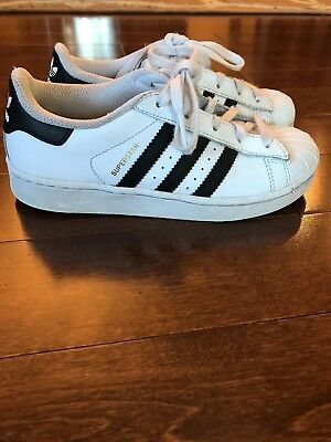 Adidas Superstar Big Kids C77154 White Black Gold Shell Toe Shoes Youth Size 1