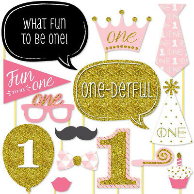 20 X 1st Large Photo Booth Props Moustache Girl Birthday Party Favour Kit DIY