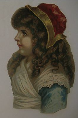 Antique Victorian Girl Die Cut Card ~ Very Detailed Just Beautiful ~