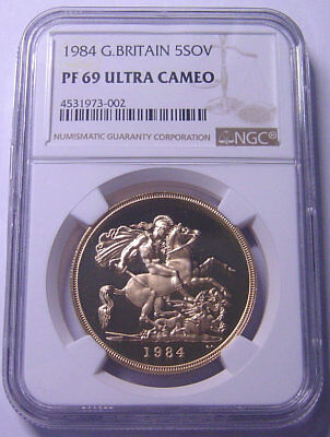 Great Britain £5 Gold 1984 NGC PF69UC