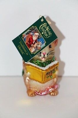 New Old World Christmas Glass Ornament Caroling Mouse