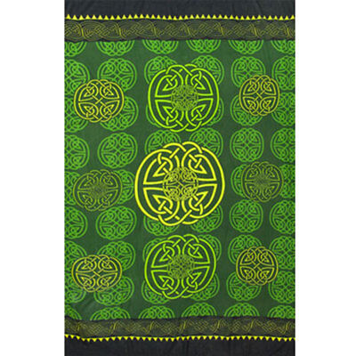 """Green Celtic Knot Sarong NEW IN PACKAGE  62"""" x 45"""" Fringed Rayon Altar Cloth"""