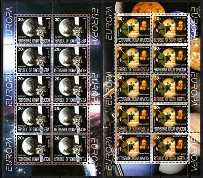 GEORGIA / Ossetia 2009 EUROPA: Space Astronomy. 2 MINI-SHEETS Perforated, MNH