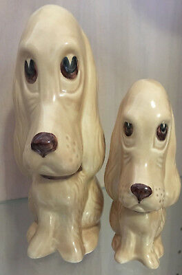 Sylvac - Two Beautiful Sad Dogs - Well Matched In Colour - Porcelain - Perfect -