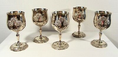5 Ornate Reed & Barton Silverplate KING FRANCIS Water Goblets # 1659 ~ 1 Dented