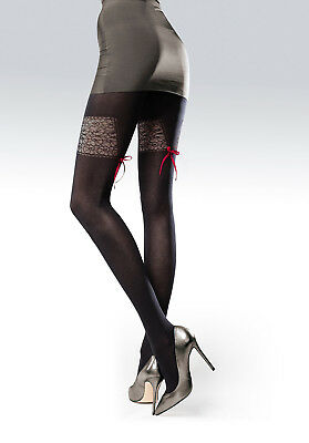 Very sexy lace suspender effect Black Thicker Tights Bordo Ribbon Pantyhose T65