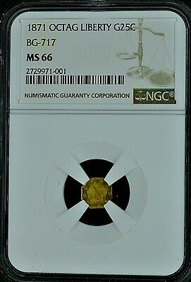 1871 California Fractional Octagon Liberty Gold 25 Cents Coin Bg-717 Ngc Ms66