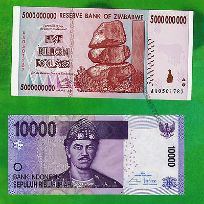 5 Billion Zimbabwe Dollars AA 2008 + 10,000 Indonesia Rupiah Banknote Mixed Set