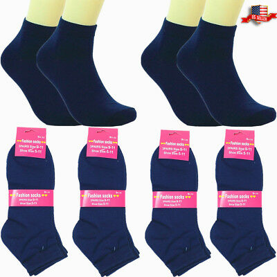 6-12 Pairs Women Girls Ankle Back to School Casual Cotton Socks Dark Blue