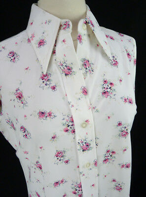 Vintage 70s Soft White w/Pink Floral Poly Print Sleeveless Collared Blouse L