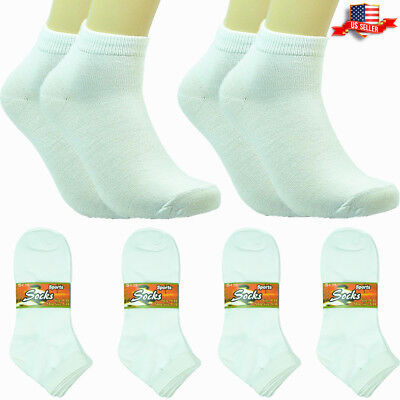 6-12 Pairs New Fashion Cotton Women Ankle Low Cut School Casual Socks 9-11 white