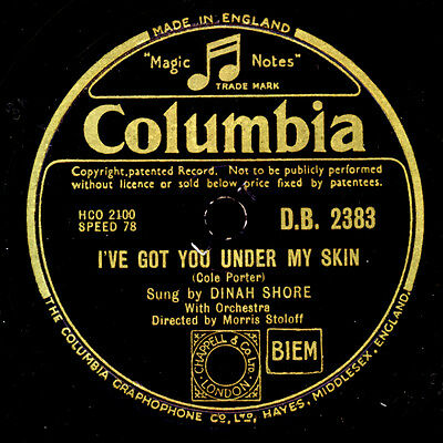 DINAH SHORE I've got you under my Skin / How soon  78rpm  Schellackplatte S9730