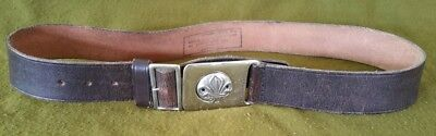 Vintage Boy Scout Leather Belt with Chrome Buckle Small Size