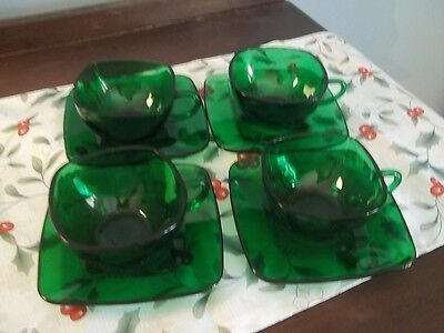 Anchor Hocking ~ Forest Green ~ CHARM ~ Set of FOUR Cups & Saucers EC!