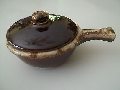 Hull USA brown Drip Glaze Oven Proof Pottery Casserole Dish  with Lid Handle