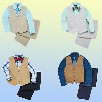 NWT NEW TFW Little Boys 4-pc Vest Set Shirt Tie Vest Pants Suit - Size 3T to 10