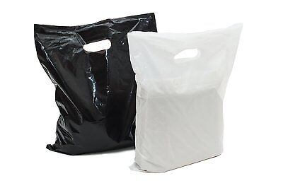 Black & White Plastic Merchandise Shopping Bags Handle Retail  Bags in 3 Sizes