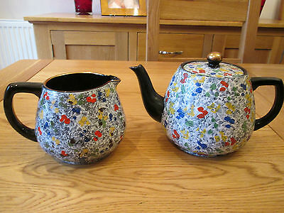 TEA POT and JUG  HAND PAINTED  ABSTRACT DESIGN