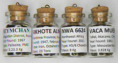 Meteorite Collection Lot Four Different Types In Labeled Bottles