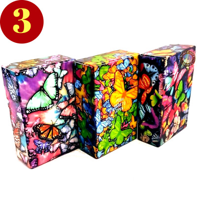 3 Butterfly Pack  Multi Color Top Flip Open Plastic Cigarette Case Holders Kings