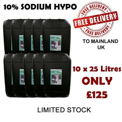 Sodium hypochlorite 10% 10 x 25 litres softwash Softwashing free delivery