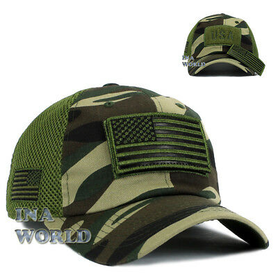 USA American Flag Hat Detachable Patch Mesh Tactical Operator cap- Army Camo 0af44e4dba09