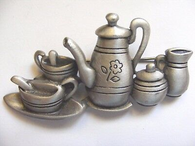 Vintage Jj Tea For Two Pewter Pin Brooch Signed