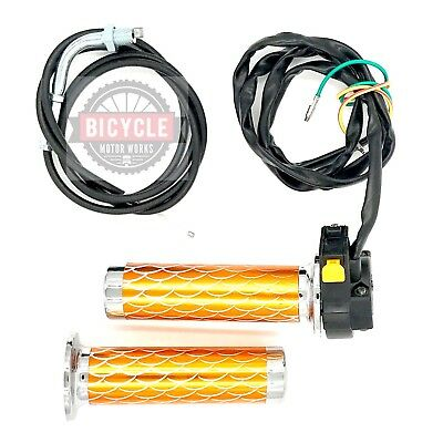 Metallic Gold Throttle Grip, Cable, Kill Switch 49cc 66/80cc Motorized Bicycle