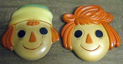 Raggedy Ann and Andy Plaster Decorative Plaster Wall Hangings Plaques Vintage