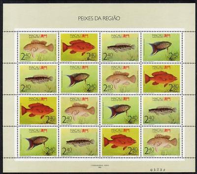 MACAO MNH 1990 SG719-22 Fishes Souvenir Sheet
