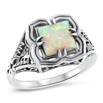 Antique Victorian Style 925 Sterling Silver Lab Opal Ring Size 5.75,        #721