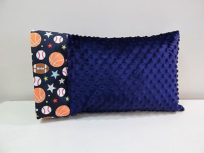 NWT Sport Minky Dot Toddler Pillowcase 12x16 Nap Bed Football Baseball Basketbal