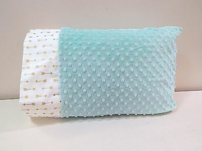 NWT Gold Metallic Arrow Teal Aqua Minky Toddler Bed Pillowcase 12x16 Neutral Nap