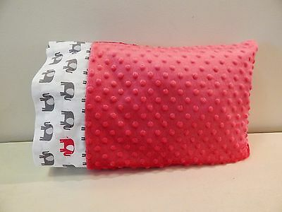 NWT Elephant Hot Pink Minky Dot Toddler Pillowcase 12x16 Girl Jungle Zoo Safari