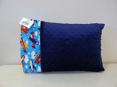 NWT Airplane Blue Minky Dot Toddler Pillowcase 12 x16  Boy Nap Travel Plane Bed