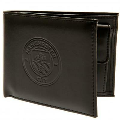 Manchester City Fc Man Black Faux Leather Debossed Wallet Mens Gift