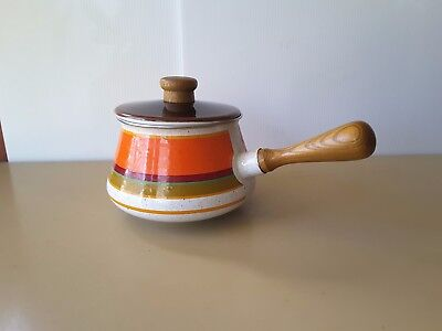 Retro Vintage Orange STRIPED Enamel Saucepan IMPERIAL JAPAN WOODEN HANDLE KNOB