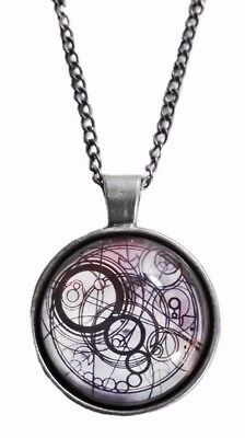 Doctor Who Light Blue Timelord Logo Glass Domed Pendant Necklace