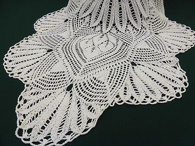 Gorgeous Hand Knitted White Cotton pita Lace Runner-50""