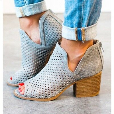 Qupid Shoes Core Peep Toe Ankle Booties in Grey CORE-27