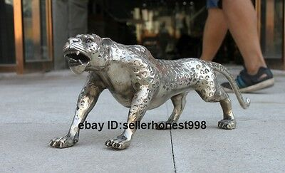 Chinese Tibet Silver White bronze Potential prey leopard panther animal statue
