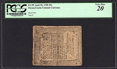 1759 Pennsylvania Printed By Benjamin Franklin Colonial Note PCGS 20 PA-99 RARE
