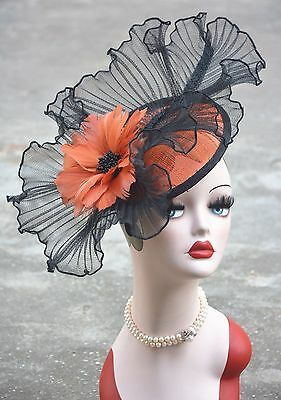 Womens Sinamay Fascinator Feather Cocktail Hat Royal Ascot Ladies' Day A325