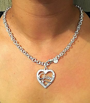 Women's Jewellery – 925 Sterling Silver Guess Love Heart Necklace – Glamorous!