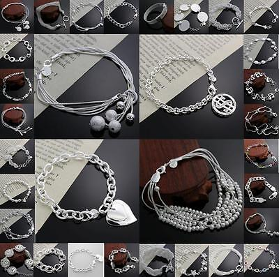 New Solid 925 sterling silver jewelry chain bracelet charm bangle Love gift