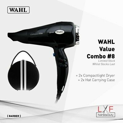 Wahl Combo 8 – 2x Compact Lite Dryer with Free Hat Case Salon Barber