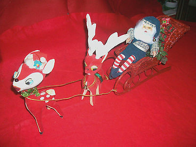 Wicker Christmas Sleigh W Pixie Elf Santa Claus & Reindeer V Holiday Collectible