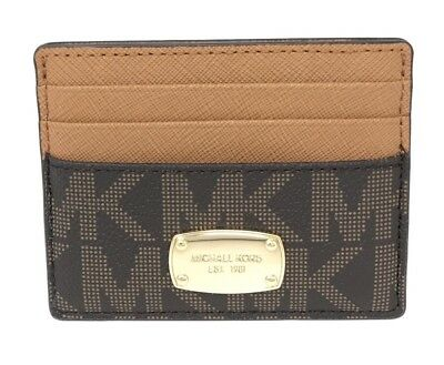 NWT Michael Kors Jet Set Item LG Card & ID Holder MK Signature Brown/Acorn 78$