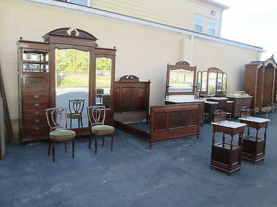 35457 Antique French Bedroom Set Wardrobe Dresser Vanity 2 Nightstands and Bed
