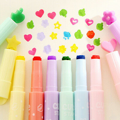 Cute 1x Candy Colors Stationer multi shapes Highlighters Marker Pens WritingCAEV